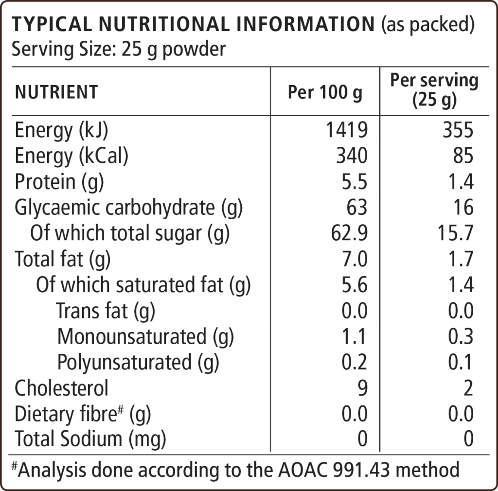 White Hot CVhocolate Nutritional Information